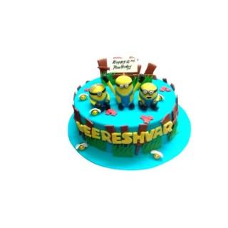 Multi Minion Theme Fondant Cake