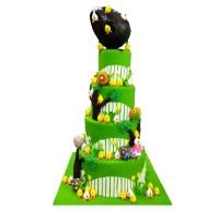 Angry Bird Chicks Themed Fondant Cake