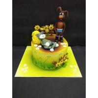 Cat and  Dog Fondant Cake