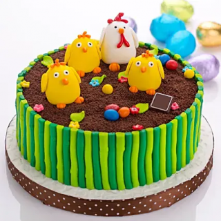 Kids Chicken Theme Fondant Cake