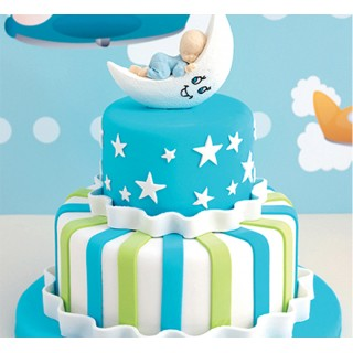Baby on the Moon two tier Fondant Cake