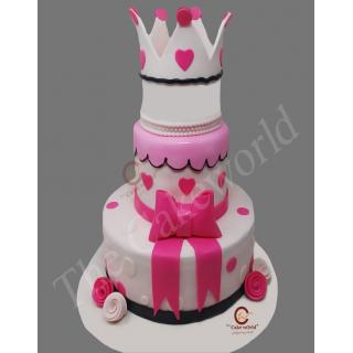 Pink Color Crown Cake