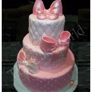 Pink bow fondant cake