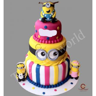 minion three tier cake